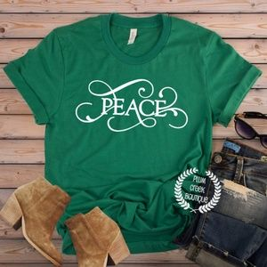 Peace Graphic Tee - Green - Sz XS - 3XL - NEW NWT